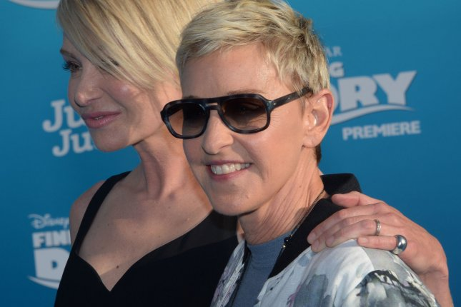 Cast member Ellen DeGeneres (R), the voice of Dory, and her spouse, actress Portia de Rossi, attend the premiere of the animated motion picture comedy Finding Dory in Los Angeles on June 8, 2016. File Photo by Jim Ruymen/UPI