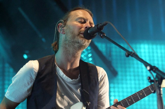 Thom Yorke with Radiohead performing during the band's 2012 tour opener at the American Airlines Arena in Miami, Fla. on February 27, 2012. Radiohead announced a new U.S. tour that will again begin in Miami. File Photo by Michael Bush/UPI