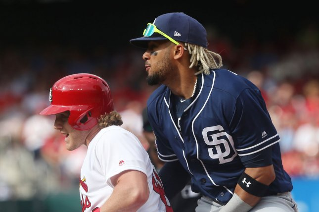 San Diego Padres rookie Fernando Tatis Jr. (R) was placed on the 10-day injured list due to a stress reaction in his lower back. File Photo by Bill Greenblatt/UPI
