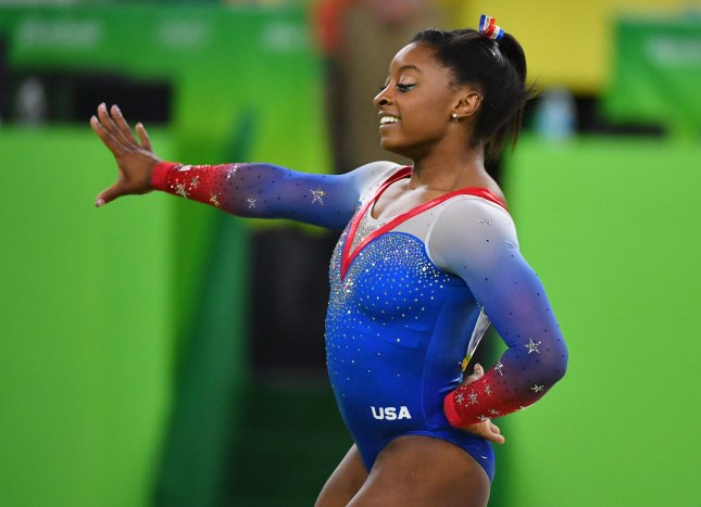 Simone Biles has asked for privacy following her brother's arrest last week in connection to the deaths of three people. Photo by Kevin Dietsch/UPI