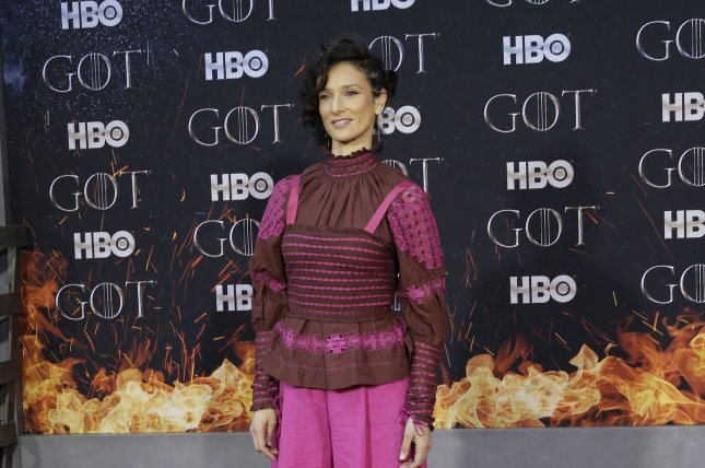 Indira Varma announced on Instagram that she is in bed recovering from COVID-19 after her London play was canceled. File Photo by John Angelillo/UPI