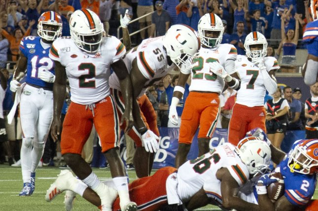 The Miami Hurricanes will not play football until at least December due to COVID-19 cases. File Photo by Joe Marino-Bill Cantrell/UPI