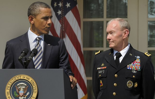 U.S. President Barack Obama makes remarks as he announces the nomination of Army Gen. Martin E. Dempsey (R) as chairman of the Joint Chiefs of Staff, May 30, 2011 in the Rose Garden of the White House, in Washington, D.C. Dempsey, who will replace out-going Adm. Mike Mullen, will be the military's highest ranking officer and oversee the drawdowns in Iraq and Afghanistan, defense budget cuts and the future role of the armed forces. UPI/Mike Theiler