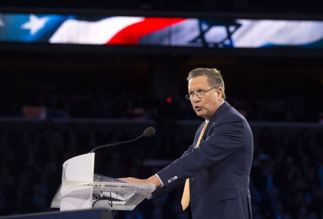 Former Republican presidential candidate John Kasich delivers a speech in Washington in March. Kasich said despite making a pledge to endorse whoever won the Republican nomination, he is not ready to endorse Donald Trump. File Photo by Kevin Dietsch/UPI