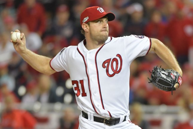 Washington Nationals pitcher Max Scherzer throws during the first inning against the Los Angeles Dodgers in game 5 of the National League Division Series at Nationals Park on October 13, 2016. Photo by Kevin Dietsch/UPI