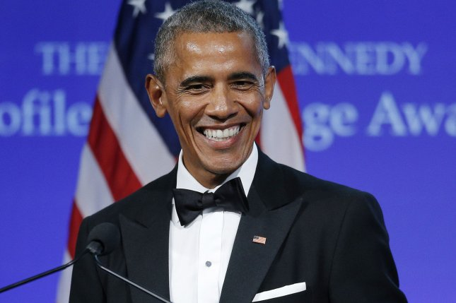Former U.S. President Barack Obama speaks after he was presented the 2017 John F. Kennedy Profile In Courage Award by Caroline Kennedy at the John F. Kennedy Library in Boston on May 7. Obama visited Britain's Prince Harry after the Manchester terror attack to offer his condolences and support. Photo by CJ Gunther/UPI