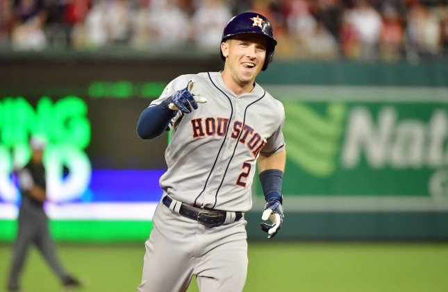 Alex Bregman smiles as he rounds the bases after a two-run homer against the National League during the 10th inning of the MLB All-Star Game at Nationals Park in Washington, D.C., July 17, 2018. Photo by Kevin Dietsch/UPI