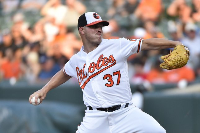 Dylan Bundyv and the Baltimore Orioles take on the the Toronto Blue Jays on Tuesday. Photo by David Tulis/UPI