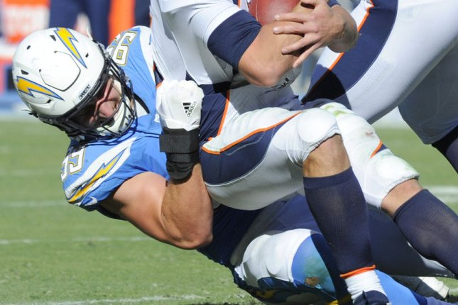 Los Angeles Chargers linebacker Joey Bosa sacks the quarterabck during a game against the Denver Broncos at the StubHub Center in Carson, California on October 22, 2017. Photo by Lori Shepler/UPI