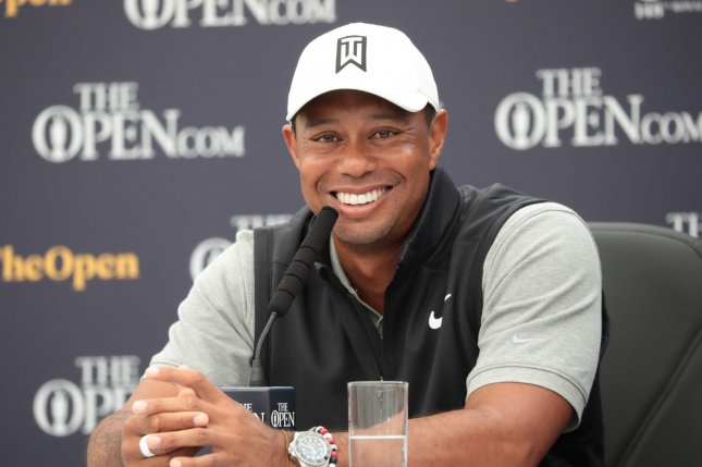 American Tiger Woods tees off for the first round of the 2019 British Open alongside Matt Wallace and Patrick Reed at 10:10 a.m. Thursday at Royal Portrush Golf Club in County Antrim, Northern Ireland. Photo by Hugo Philpott/UPI