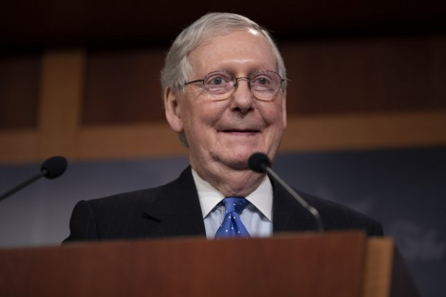 The Senate on Monday delayed action on a coronavirus relief proposal that Senate Majority Leader Republican Mitch McConnell blocked last week until at least Thursday. File Photo by Tasos Katopodis/UPI