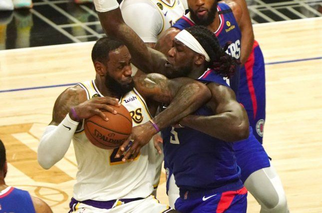 Los Angeles Clippers forward Montrezl Harrell (R) averaged career highs of 18.6 points and 7.1 rebounds this season. File Photo by Jon SooHoo/UPI