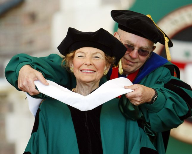 Conservative political analyst Phyllis Schlafly received an honorary degree from Washington University in St. Louis. Schlafly, who once criticized women that participated in the work force, had a couple hundred students and faculty members stand and turn their backs as she accepted the award. (UPI Photo/Bill Greenblatt)