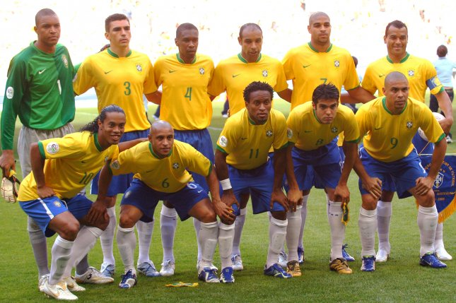 The Brazilian World Cup team poses for a picture in 2006. (File/UPI Photo/Arthur Thill)