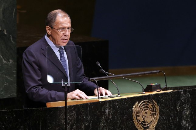 Russian Federation Minister for Foreign Affairs, Sergey V. Lavrov, speaks at the 69th United Nations General Assembly General Debate in the UN building in New York City on September 27, 2014. A spokesperson for the European Union said on May 30, 2015 that Russia had issued a travel ban on 89 European politicians and military leaders from 17 countries. Russian media quoted an unnamed source in the country's foreign ministry, who said the list was issued in retaliation against economic sanctions relating to the Ukraine conflict. File photo by John Angelillo/UPI