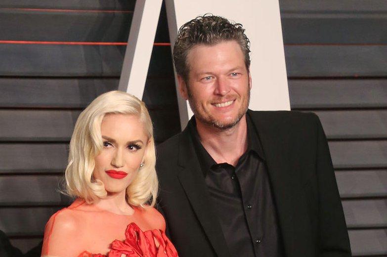 Blake Shelton (R) and Gwen Stefani at the Vanity Fair Oscar party on February 28. File Photo by David Silpa/UPI