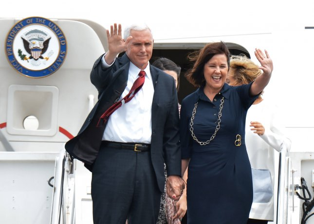Vice President Mike Pence and his wife Karen arrive at the U.S. naval air facility in Atsugi, Ayase, Kanagawa prefecture, Japan on April 18, 2017. Photo by Keizo Mori/UPI