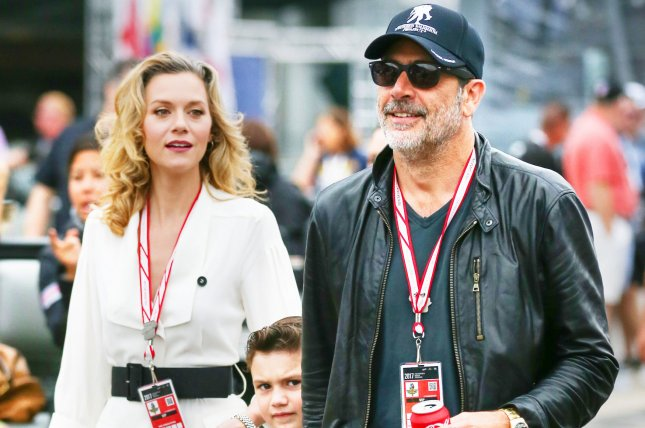 Jeffrey Dean Morgan (R) with Hilarie Burton (L) and son Augustus at the Indy 500 on May 27. The actor and Burton confirmed Sunday that they're expecting another child. File Photo by Mike Gentry/UPI