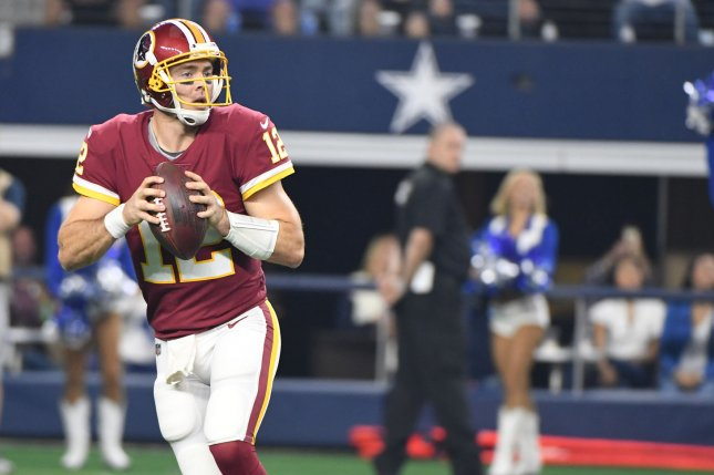 Washington Redskins backup quarterback Colt McCoy looks to throw against the Dallas Cowboys during a game at AT&T Stadium on November 22, 2018. Photo by Ian Halperin/UPI