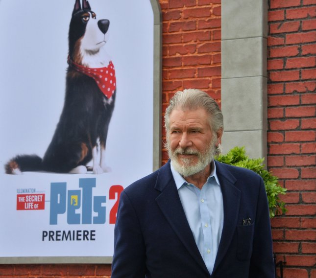 Cast member Harrison Ford, the voice of Rooster in the animated comedy The Secret Life of Pets 2, attends the premiere of the film in Los Angeles on June 2. Photo by Jim Ruymen/UPI