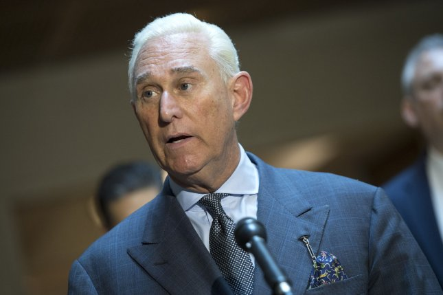 Roger Stone, a longtime adviser to President Donald Trump, speaks to reporters after testifying before the House intelligence committee on Russian interference in the 2016 election, on Capitol Hill in Washington, D.C., on September 26, 2017. File Photo by Kevin Dietsch/UPI