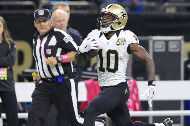 New Orleans Saints wide receiver Brandin Cooks (10) takes a Drew Brees pass for 87 yards and a touchdown in the first quarter at the Mercedes-Benz Superdome in New Orleans October 16, 2016. File photo by AJ Sisco/UPI