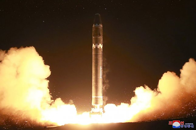 North Korea is protesting decisions to place more sanctions on Pyongyang, following the country's launch of the Hwasong-15, a long range missile, in November. Photo by KCNA/UPI