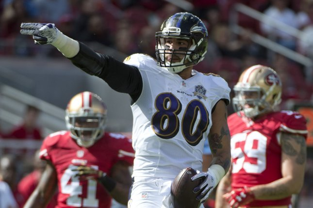 Baltimore Ravens TE Crockett Gillmore (80). File photo by Terry Schmitt/UPI