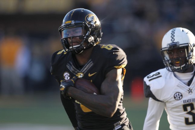 Missouri wide receiver J'Mon Moore outruns Vanderbilt's Tre Herndon for an 82-yard touchdown in the second quarter on November 12, 2016 at Faurot Field in Columbia, Missouri. File photo by Bill Greenblatt/UPI