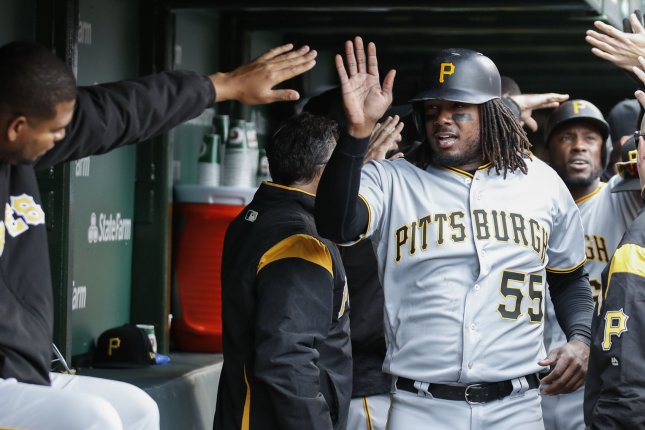 Pittsburgh Pirates first baseman Josh Bell (55) celebrates after scoring against the Chicago Cubs in the third inning of the home opening day game on April 10 at Wrigley Field in Chicago. Photo by Kamil Krzaczynski