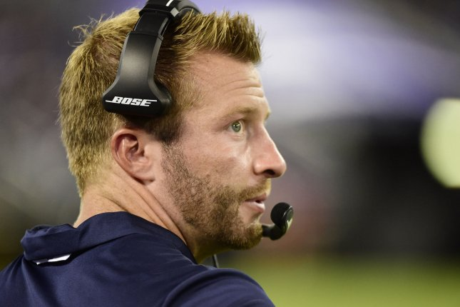 Los Angeles Rams head coach Sean McVay watches from the sidelines during the first half of a preseason NFL game against the Baltimore Ravens on August 9 at M&T Bank Stadium in Baltimore. Photo by David Tulis/UPI
