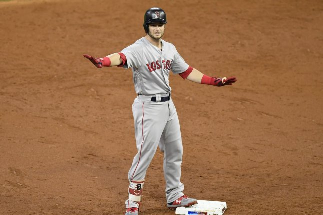 Boston Red Sox outfielder Andrew Benintendi has gotten off to a solid start in 2019, hitting .293 in 16 games for the Sox, with one homer and six runs batted in. File Photo by Trask Smith/UPI