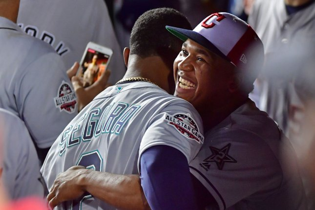 All-Stars Jean Segura (L) and Jose Ramirez (R) both hail from the Dominican Republic. File Photo by Kevin Dietsch/UPI
