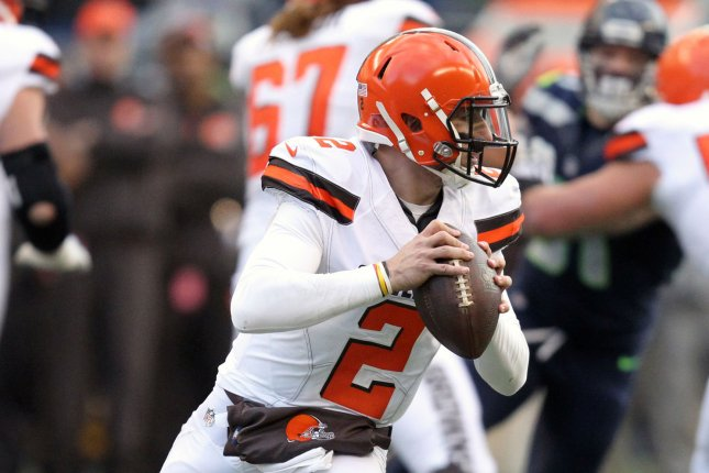 Former Cleveland Browns quarterback Johnny Manziel last played professional football with the Memphis Express in the Alliance of American Football last year. File Photo by Jim Bryant/UPI