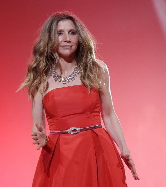 Sarah Chalke walks on the runway at The American Heart Association's Go Red For Women Red Dress Collection 2020 at Hammerstein Ballroom on February 5 in New York City. The actor turns 44 on August 27. File Photo by John Angelillo/UPI