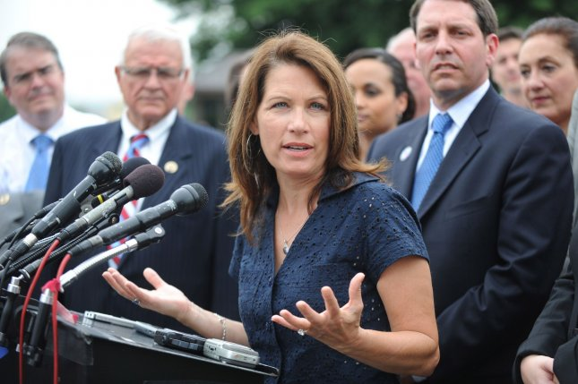 Rep. Michele Bachmann (R-MN) (C) joined by tea party supporters and follow representatives announces the formation of the Tea Party Caucus at a press conference on Capitol Hill in Washington on July 21, 2010. UPI/Kevin Dietsch