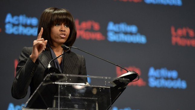 First Lady Michelle Obama speaks at her ÒBringing Physical Activity Back to SchoolsÓ at McCormick Place in Chicago on February 28, 2013. Obama held her event in Chicago to celebrate the third anniversary of her Let's Move anti-obesity program. UPI/Brian Kersey