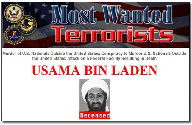 A news section of the Federal Bureau of Investigation (FBI) website shows an update listing Osama bin Laden as Deceased in Washington, DC, on May 2, 2011. At 11.35 last night President Obama announced the United States has conducted an operation that killed Osama bin Laden, the leader of al Qaeda, and a terrorist who's responsible for the murder of thousands of innocent men, women, and children. UPI/Roger L. Wollenberg