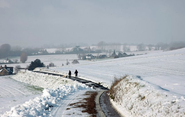 Snow covers fields and roads in South-East England as temperatures fall below zero in the United Kingdom and across Europe on February 06 2012. UPI/Hugo Philpott