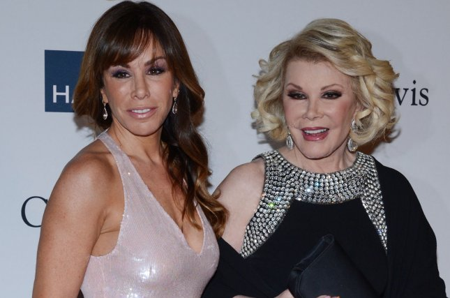 Television personality Melissa Rivers marked her first Halloween without her mom Joan, seen here in 2013, by posting on Twitter an adorable old photo of them together. UPI/Jim Ruymen