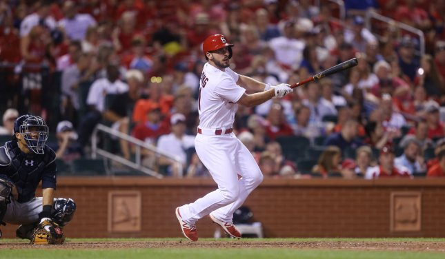 Paul DeJong of the Atlanta Braves watches as he hits a two RBI double against the Atlanta Braves in the eighth inning at Busch Stadium in St. Louis on Friday. Photo by Bill Greenblatt/UPI