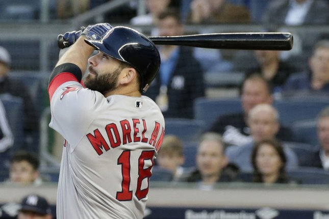 Boston Red Sox slugger Mitch Moreland hits a 2-run home run in the second inning against the New York Yankees on May 9 at Yankee Stadium in New York City. Photo by John Angelillo/UPI