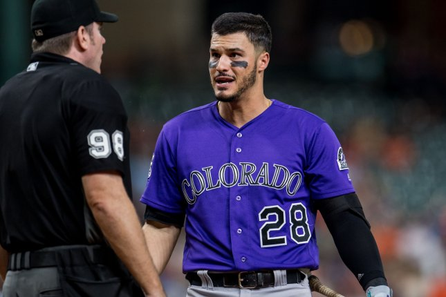 Colorado Rockies third baseman Nolan Arenado finished third in MVP voting in 2018. He signed an eight-year contract extension in February. File Photo by Trask Smith/UPI