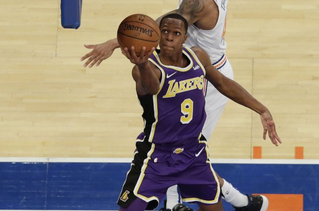 Los Angeles Lakers point guard Rajon Rondo (9) averaged 9.2 points and 8.0 assists per game with the Lakers last season. File Photo by John Angelillo/UPI