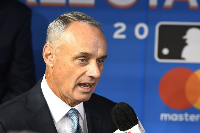 MLB commissioner Rob Manfred will present the return-to-play proposal to players Tuesday. File Photo by Gary I Rothstein/UPI