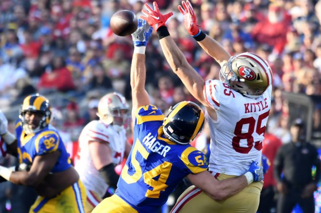 San Francisco 49ers tight end George Kittle (85) has had back-to-back seasons with at least 1,000 receiving yards and is my No. 1 fantasy football tight end for the 2020 season. File Photo by Jon SooHoo/UPI