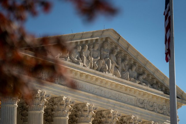 The Supreme Court building in Washington, D.C., is pictured on November 9. The court's newest member, Justice Amy Coney Barrett, did not vote in Thursday's decision. File Photo by Ken Cedeno/UPI