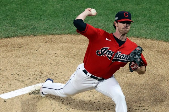 Cleveland Indians pitcher Shane Bieber has tested positive for COVID-19, but is expected to report for spring training within the next few days at the team's facility in Goodyear, Ariz. File Photo by Aaron Josefczyk/UPI