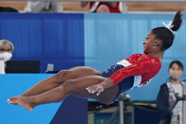 Simone Biles of the United States competes in the vault in the women's all-around team final at the 2020 Summer Games on Tuesday in Tokyo. Photo by Richard Ellis/UPI