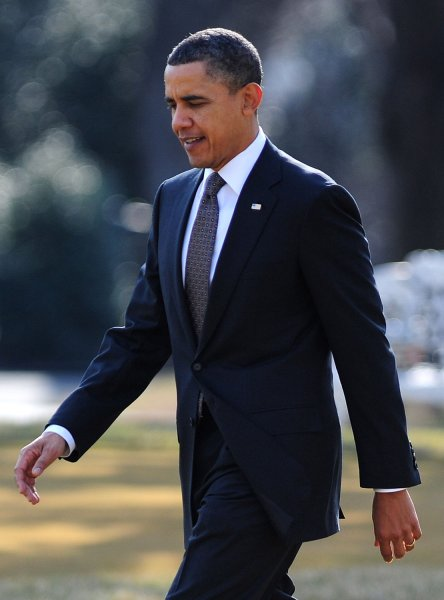 President Barack Obama departs the White House in Washington on February 17, 2011. Obama is on a trip to the west coast where he will visit the Intel Corporation in Oregon. UPI/Kevin Dietsch